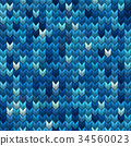 Light and dark blue knit seamless pattern. EPS 10 34560023
