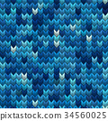 Light and dark blue knit seamless pattern. EPS 10 34560025