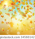 Autumn background with leaves. EPS 10 vector 34560142
