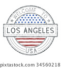 Welcome to Los Angeles, USA. Colored tourist stamp 34560218