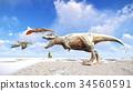 Velociraptor and pterodactyl 3d rendering 34560591