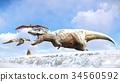 Velociraptor and pterodactyl 3d rendering 34560592