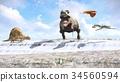 Velociraptor and pterodactyl 3d rendering 34560594