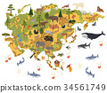 Flat Asian flora and fauna map constructor element 34561749