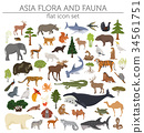 Flat Asian flora and fauna map constructor element 34561751