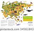 Flat Asian flora and fauna map constructor element 34561843