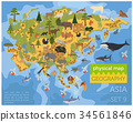 Flat Asian flora and fauna map constructor element 34561846