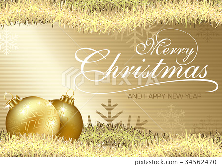 Golden Merry Christmas Greeting 34562470