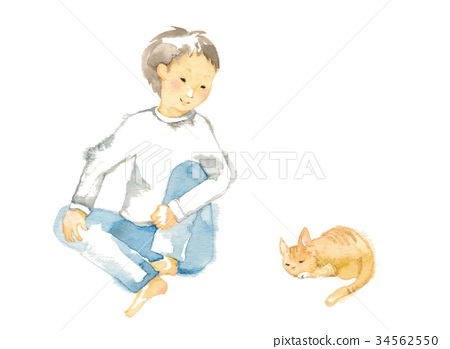 Brother and tabby cat 34562550