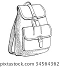 Sketch of a rucksack.Backpack  on white background 34564362