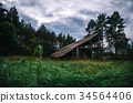 Spooky wooden abandoned house in creepy forest 34564406