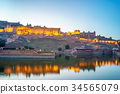 Night view of Amber fort in Jaipur, Rajasthan, Ind 34565079