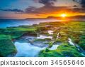 sunrise at laomei green reef, northern coast in ta 34565646