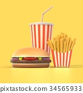 Hamburger, french fries and cola fast food meal 34565933