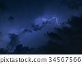 lightning with dramatic cloud on blue background 34567566