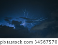 lightning with dramatic cloud on blue background 34567570