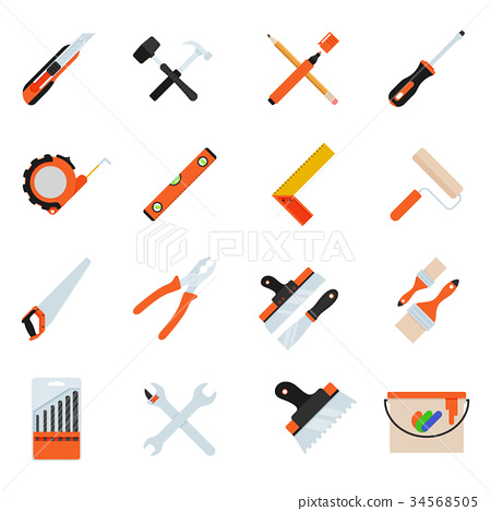 Construction repair tools flat icon set. 34568505