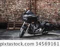 Custom street motorbike in black and metallic 34569161