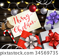 Christmas New Year design wooden background 34569735