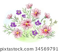 Watercolor flowers violets and pansy and leaves on 34569791