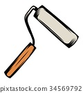 Paint roller icon cartoon 34569792