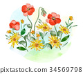 Watercolor flowers violets and pansy and leaves on 34569798