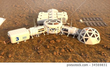 Mars planet satellite station orbit base martian 34569831