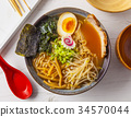 Miso Ramen Asian noodles with meat and egg 34570044
