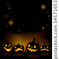 Halloween party invitation with scary pumpkins 34571653