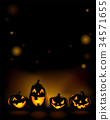 Halloween party invitation with scary pumpkins 34571655
