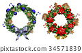 White card with Christmas wreath and bow 34571839