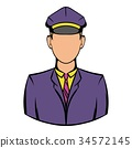Railroader in uniform icon, icon cartoon 34572145