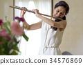 吹長笛的婦女 34576869