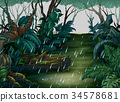 Background scene with forest in the rain 34578681