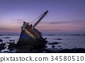 shipwreck abandoned sunset 34580510