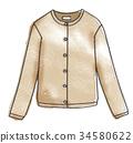 水彩画 开襟羊毛衫 羊毛上衣 34580622