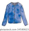 水彩画 开襟羊毛衫 羊毛上衣 34580623