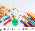 Colorful pencils with colorful pencil shavings 34580827