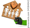 Model House with Family and Heart 34584042