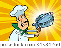 Chef cook character with roasted fish 34584260