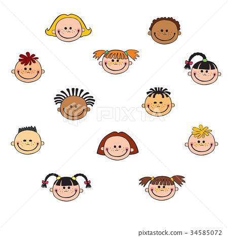 cartoon child face icon 34585072
