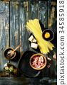 Ingredients for pasta carbonara 34585918