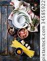 Ingredients for pasta carbonara 34585922