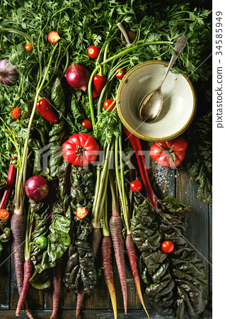 Purple carrot with vegetables 34585949
