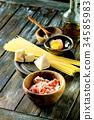 Ingredients for pasta carbonara 34585983