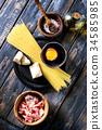 Ingredients for pasta carbonara 34585985