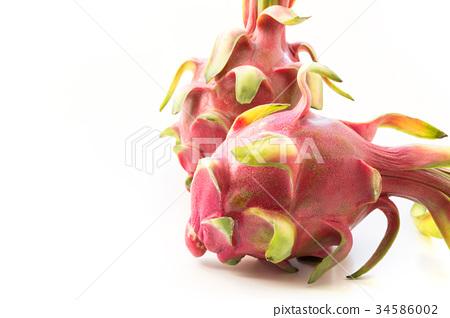 Isolated tropical pitaya, dragon fruit on white.  34586002