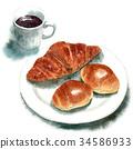 麵包 水彩畫 咖啡 34586933
