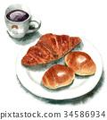 麵包 水彩畫 咖啡 34586934