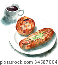 麵包 水彩畫 咖啡 34587004